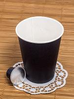 Стакан бумажный 350мл D90 мм 1-сл для горячих напитков ЧЕРНЫЙ EP 1/50/1000