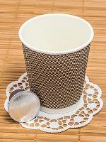 Стакан бумажный 250мл D80 мм 2-сл для горячих напитков гофрированный КЛЕТКА PPS 1/50/500