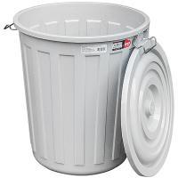 Бак мусорный круглый 48л Н480хD430 мм с крышкой на зажимах ПЛАСТИК СЕРЫЙ BORA 1/1 (арт. 713)