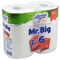 Купить полотенце бумажное 2-сл 2 рул/уп мягкий знак mr.big белое сцбк 1/12 в Москве