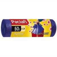 Купить мешок (пакет) мусорный 60л 14 шт/рул 15 мкм с завязками aroma multitop сиреневый paclan 1/20 в Москве
