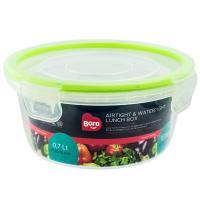 Купить контейнер герметичный круглый 0.7л н70хd148 мм крышка на защелках полоса салатовая пластик bora 1/12 в Москве