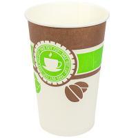 Купить стакан бумажный 400мл d90 мм 1-сл для горячих напитков чай зеленый&кофе v 1/50/800 в Москве