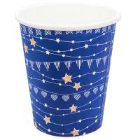 Купить стакан бумажный 250мл d80 мм 1-сл для горячих напитков праздничный синий v 1/50/1000 в Москве