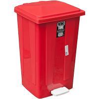 Купить контейнер мусорный прямоугольный 48л дхшхв 420х375х630 мм с педалью пластик красный bora 1/1 в Москве