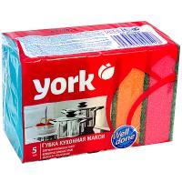 Купить губка для мытья посуды универсальная дхш 100х70 мм 5 шт/уп с зеленым абразивом maxi поролон york 1/50 в Москве