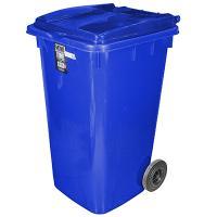 Купить бак мусорный прямоугольный 240л дхшхв 730х580х1050 мм на колесах пластик синий bora 1/3 в Москве