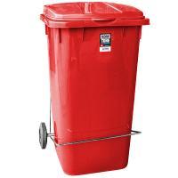 Купить бак мусорный прямоугольный 240л дхшхв 730х580х1050 мм на колесах с педалью пластик красный bora 1/3 в Москве