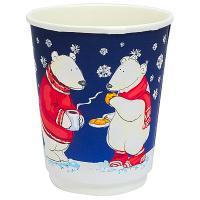 Купить стакан бумажный 250мл d80 мм 2-сл для горячих напитков белые мишки pps 1/25/500 в Москве
