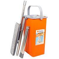 Купить набор одноведерный 9 л с отжимом шваброй и мопом flatto пластик оранжевый hunter 1/1 в Москве