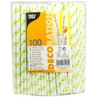Купить соломка (трубочка) для коктейля н200хd6 мм 100 шт/уп с дизайном точки зеленые бумага белая papstar 1/10 в Москве