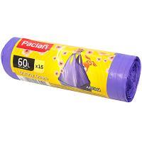 Купить мешки (пакеты) для мусора 60л 15 шт/рул 15 мкм с ручками aroma handy сиреневый paclan 1/24 в Москве