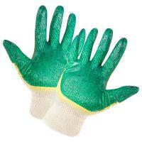 Купить перчатки рабочие с латексным покрытием в 2 слоя хб зелено-желтые 1/100 в Москве