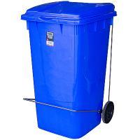 Купить бак мусорный прямоугольный 240л дхшхв 730х580х1050 мм уценка! (сломан держатель крышки) на колесах с педалью пластик синий bora 1/3 в Москве
