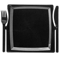 Купить тарелка фуршетная дхшхв 195х195х10мм комбо с вилкой и ножом ps черная пп 1/3/51 в Москве