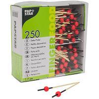 Купить пика декоративная жемчужина красная н70 мм 250 шт/уп для канапе дерево papstar 1/6 в Москве