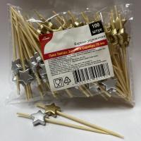 Купить пика декоративная звезда серебряная и золотая н70 мм 100 шт/уп для канапе бамбук 1/40 в Москве
