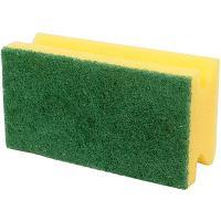 Купить губка для мытья посуды профилированная дхш 130х70 мм с зеленым абразивом длинная поролон желтая вх 1/600 в Москве