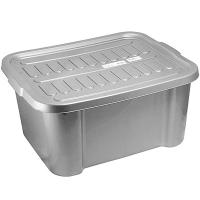 Купить ящик для хранения 38.4л дхшхв 510х420х245 мм с крышкой пластик темно-серый bora 1/1 в Москве