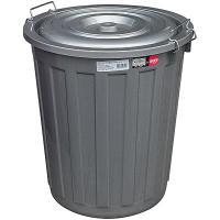 Купить бак мусорный круглый 48л н480хd430 мм с крышкой на зажимах пластик темно-серый bora 1/1 в Москве