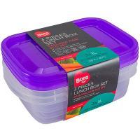 Купить контейнер прямоугольный 1л дхшхв 145х200х58 мм 3 шт/уп крышка фиолетовая пластик bora 1/88 в Москве