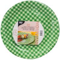 Купить тарелка бумажная d260 мм с дизайном клетка зеленая картон papstar 1/20/360 в Москве