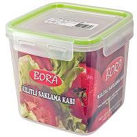 Купить контейнер герметичный квадратный 2.05л дхшхв 150х150х145 мм крышка на защелках полоса салатовая пластик bora 1/36 в Москве