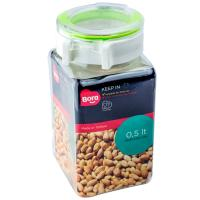 Купить контейнер квадратный 0.5л дхшхв 75х67х142 мм полоса салатовая пластик bora 1/12 в Москве