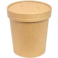 Купить контейнер бумажный 450мл н99хd98 мм для горячего, холодного c крышкой крафт 1/50/500 в Москве