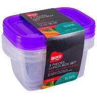 Купить контейнер прямоугольный 0.5л дхшхв 142х93х70 мм 3 шт/уп крышка фиолетовая пластик bora 1/108 в Москве