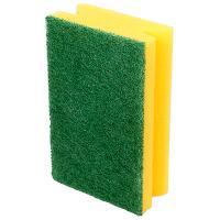 Купить губка для мытья посуды профилированная дхш 140х90 мм с зеленым абразивом большая поролон желтая вх 1/385 в Москве