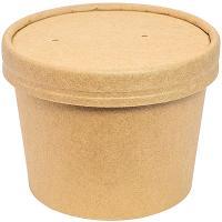 Купить контейнер бумажный 240мл н62хd90 мм для горячего, холодного c крышкой крафт 1/50/500 в Москве