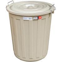 Купить бак мусорный круглый 48л h480хd430 мм с крышкой на зажимах пластик коричневый bora 1/1 в Москве