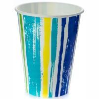 Купить стакан бумажный 300мл d90 мл 1-сл для холодных напитков полоски pps 1/50/1000 в Москве