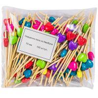 Купить пика декоративная сердечко разноцветное н70 мм 100 шт/уп для канапе бамбук 1/40 в Москве