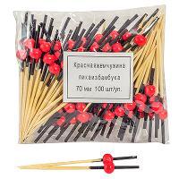 Купить пика декоративная жемчужина красная н70 мм 100 шт/уп для канапе бамбук 1/40 в Москве