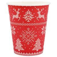 Купить стакан бумажный 250мл d80 мм 1-сл для горячих напитков зимние узоры pps 1/50/1000 в Москве