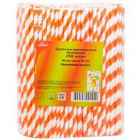 Купить соломка (трубочка) для коктейля н197хd6 мм 250 шт/уп полоса оранжевая/белая бумага 1/10 в Москве
