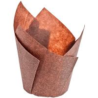 Купить капсула бумажная (тарталетка) тюльпан н95хd50 мм коричневая 1/180/1800 в Москве