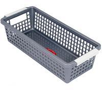 Купить корзинка дхшхв 283х120х74 мм пластик темно-серая bora 1/60 в Москве