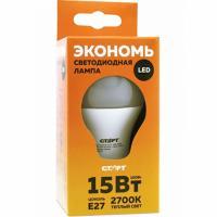 Купить лампа светодиодная e27 теплый свет 15w 220v eco груша старт 1/10 в Москве
