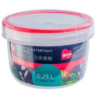 Купить контейнер круглый 0.25л н62хd90 мм полоса красная пластик bora 1/12 в Москве