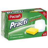 Купить губка для мытья посуды универсальная дхш 85х60 мм 5 шт/уп с зеленым абразивом universal поролон paclan 1/40 в Москве