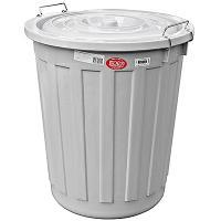 Купить бак мусорный круглый 60л н540хd460 мм с крышкой на зажимах пластик серый bora 1/10 в Москве
