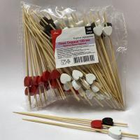 Купить пика декоративная сердечко белое, черное и красное н120 мм 100 шт/уп для канапе бамбук 1/40 в Москве