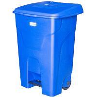 Купить бак мусорный прямоугольный 80л дхшхв 450х505х730 мм на колесах с педалью пластик синий bora 1/3 в Москве