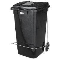 Купить бак мусорный прямоугольный 240л дхшхв 730х580х1050 мм уценка! (царапины снаружи) на колесах с педалью пластик черный bora 1/1 в Москве