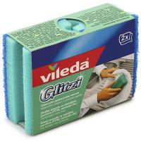 Купить губка для мытья посуды профилированная дхш 95х70 мм 2шт/уп с синим абразивом глитци поролон зеленая vileda 1/10 в Москве