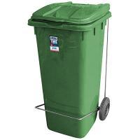 Купить бак мусорный прямоугольный 120л дхшхв 600х480х960 мм на колесах с педалью пластик зеленый bora 1/3 в Москве