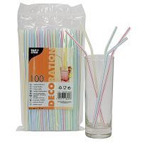Купить соломка (трубочка) для коктейля н210хd5 мм 100 шт/уп pp белая с цветной полосой papstar 1/10 в Москве